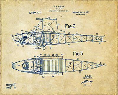1917 Glenn Curtiss Aeroplane Patent Artwork 2 Vintage Poster