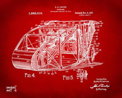 1917 Glenn Curtiss Aeroplane Patent Artwork 3 Red Poster