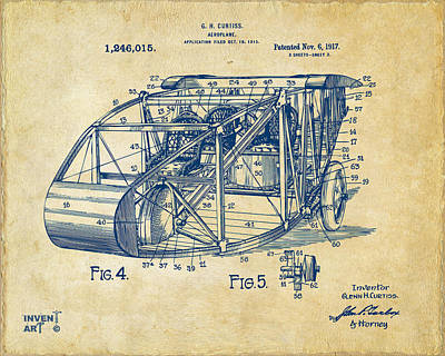 1917 Glenn Curtiss Aeroplane Patent Artwork 3 Vintage Poster