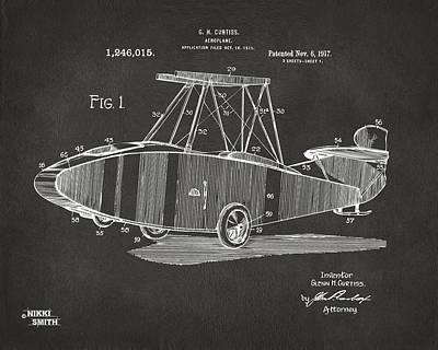 1917 Glenn Curtiss Aeroplane Patent Artwork - Gray Poster