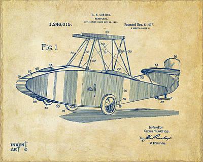 1917 Glenn Curtiss Aeroplane Patent Artwork Vintage Poster