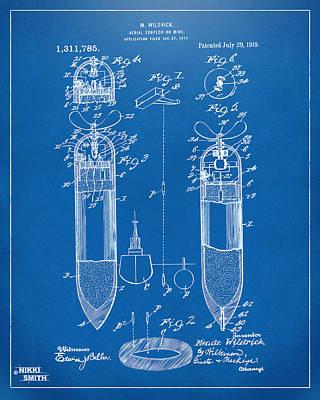 1919 Aerial Torpedo Patent Artwork - Blueprint Poster by Nikki Marie Smith