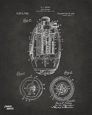1919 Hand Grenade Patent Artwork - Gray Poster by Nikki Marie Smith
