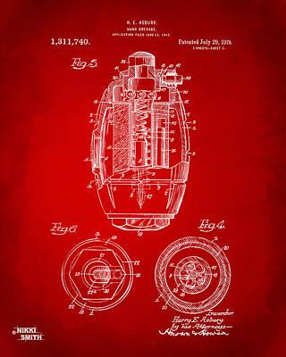 1919 Hand Grenade Patent Artwork - Red Poster