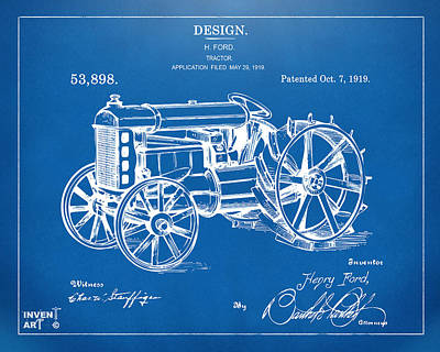 1919 Henry Ford Tractor Patent Blueprint Poster by Nikki Marie Smith