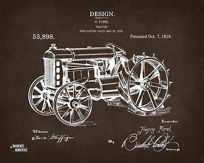 Poster featuring the drawing 1919 Henry Ford Tractor Patent Espresso by Nikki Marie Smith
