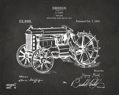 1919 Henry Ford Tractor Patent Gray Poster