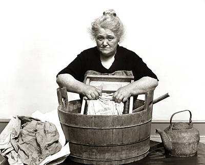 1920s 1930s 1940s Senior Woman Washing Poster