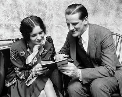 1920s 1930s Couple Reading Sharing Book Poster