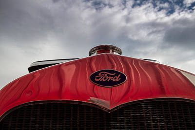 1920s Ford Emblem Against Sky Poster