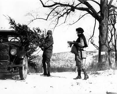 1920s Man Loading Christmas Tree Poster