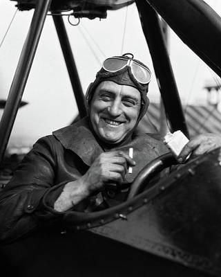 1920s Smiling Man Pilot In Cockpit Poster