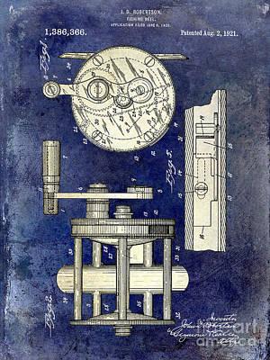 1921 Fishing Reel Patent Drawing 2 Tone Blue Poster