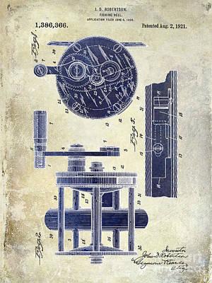 1921 Fishing Reel Patent Drawing 2 Tone Poster
