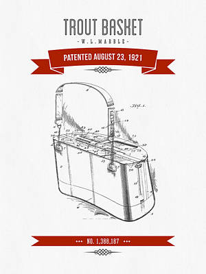 1921 Trout Basket Patent Drawing - Red Poster by Aged Pixel