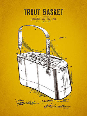 1921 Trout Basket Patent - Yellow Brown Poster by Aged Pixel