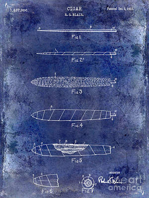 1922 Cigar Patent Drawing Blue Poster