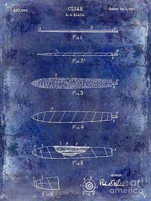 1922 Cigar Patent Drawing Blue Poster by Jon Neidert