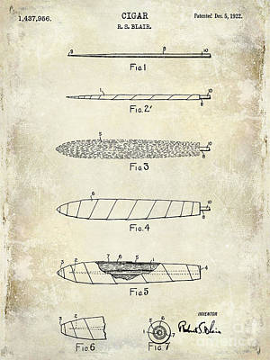 1922 Cigar Patent Drawing Poster