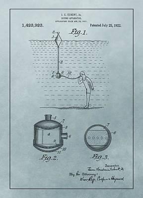 1922 Diving Apparatus Patent Illustration Poster