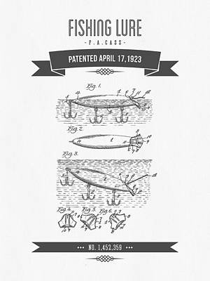 1923 Fishing Lure Patent Drawing Poster by Aged Pixel