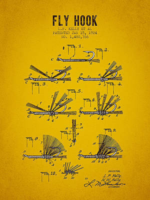 1924 Fly Hook Patent - Yellow Brown Poster by Aged Pixel