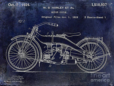 1924 Harley Davidson Motorcycle Patent  Poster by Jon Neidert