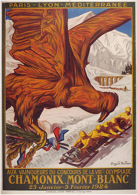 1924 Winter Olympic Games France Chamonix Poster