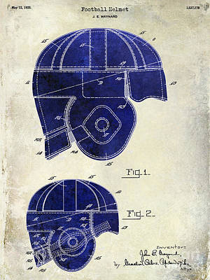 1925 Football Helmet Patent Drawing 2 Tone Poster