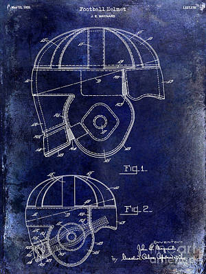 1925 Football Helmet Patent Drawing Blue Poster