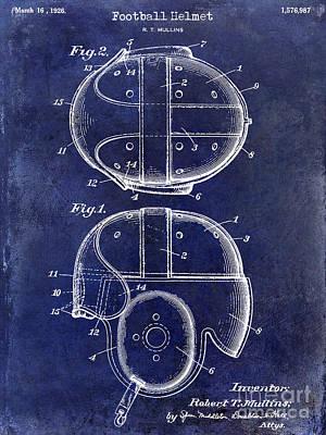 1926 Football Helmet Patent Drawing Blue Poster