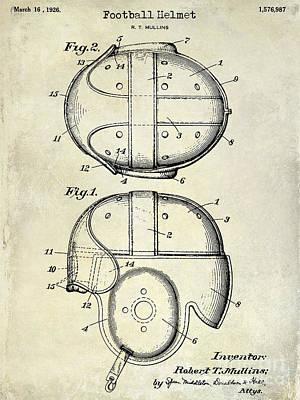 1926 Football Helmet Patent Drawing Poster