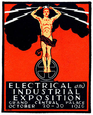 1926 New York City Electrical Industrial Exposition Poster by Historic Image