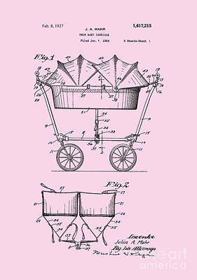 1927 Baby Twin Baby Carriage-pink Poster