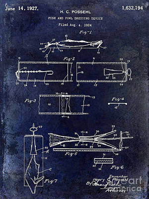 1927 Fish And Fowl Cleaning Device Patent Blue Poster by Jon Neidert