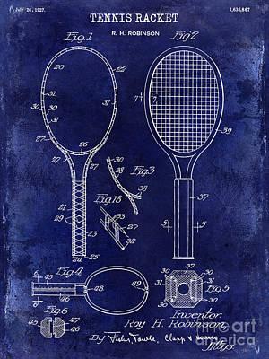1927 Tennis Racket Patent Drawing Blue Poster by Jon Neidert