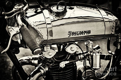 1927 Triumph Tt Racer Motorcycle Sepia  Poster by Tim Gainey