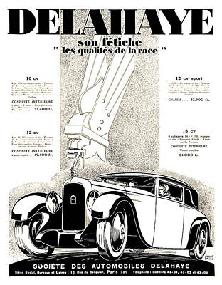 1928 - Delehaye Automobile Advertisement Poster