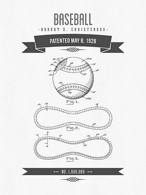 1928 Baseball Patent Drawing Poster by Aged Pixel