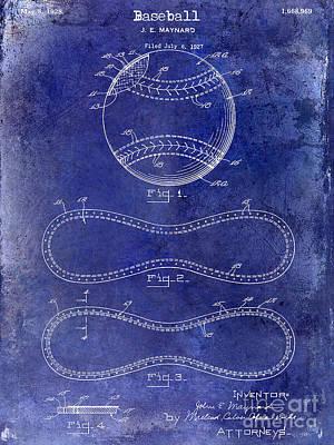 1928 Baseball Patent Drawing  Blue Poster by Jon Neidert
