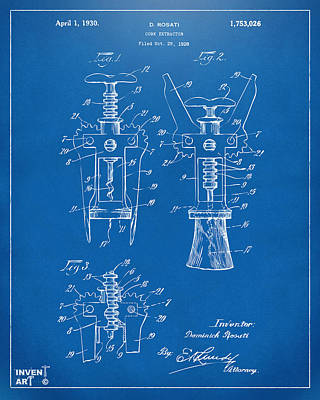1928 Cork Extractor Patent Artwork - Blueprint Poster by Nikki Marie Smith