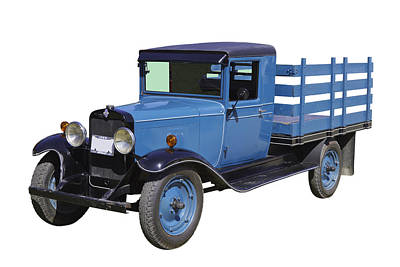 1929 Blue Chevy Truck 1 Ton Stake Body Poster by Keith Webber Jr