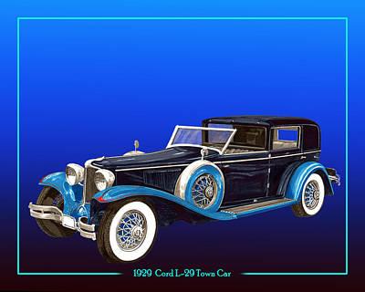 1929 Cord L 29 Town Car Poster by Jack Pumphrey