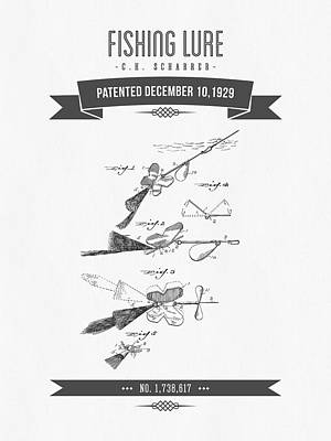 1929 Fishing Lure Patent Drawing Poster by Aged Pixel