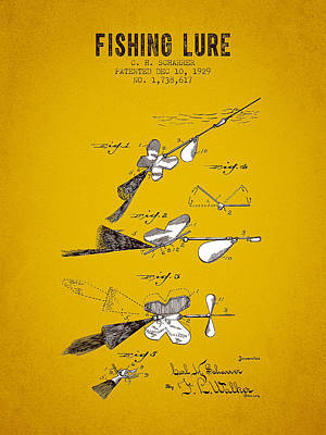 1929 Fishing Lure Patent - Yellow Brown Poster