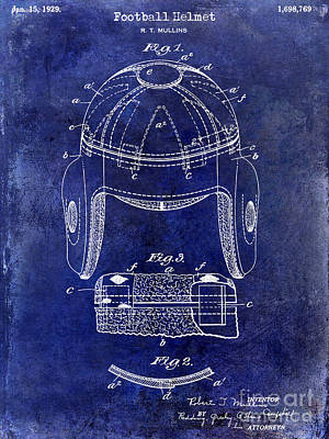 1929 Football Helmet Patent Drawing Blue Poster