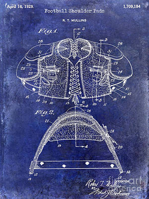1929 Football Shoulder Pads Patent Drawing Blue Poster