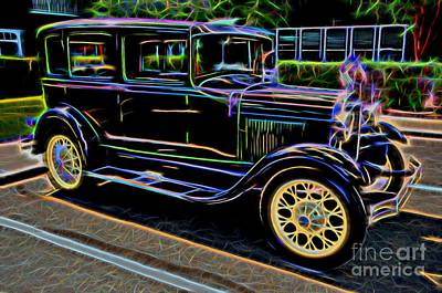 1929 Ford Model A - Antique Car Poster by Gary Whitton