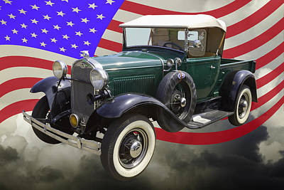 1930 Ford Model A Pickup Truck And Us Flag Poster by Keith Webber Jr