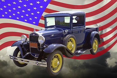 1930 Model A Ford Pickup Truck And American Flag Poster by Keith Webber Jr